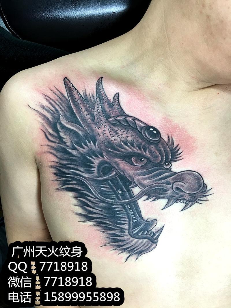 龙头纹身侧面图分享展示